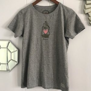Life is Good Gray Heart Lantern Teeshirt XS